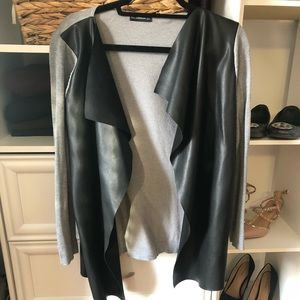 Zara Gray and Faux Leather Sweater